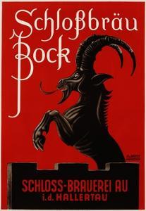 Schlossbrau Bock Beer Advertisement Poster by O.V. Kress
