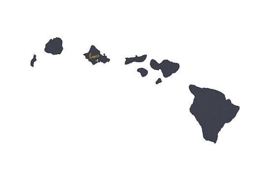 Oahu Hawaii Home State Gray On White Art Print By Lantern Press
