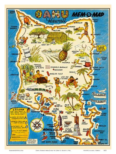 Oahu, Hawaii Mem-O-Map - World War II Military Souvenir Map-John G^ Drury-Art Print