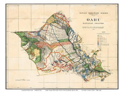 Oahu, Hawaiian Islands, Hawaii Territory Survey Map-John M^ Donn-Art Print