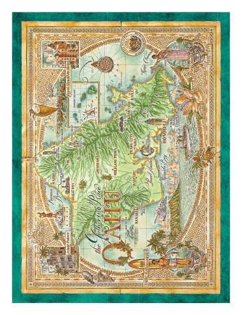 image regarding Printable Map of Oahu named Oahu, The Collecting Destination, Common Map of Oahu, Hawaii Artwork Print as a result of Dave Stevenson