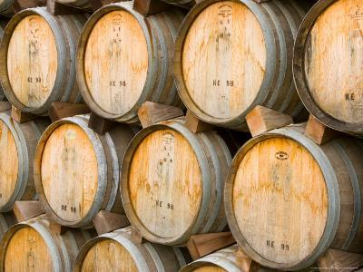 Oak Barrels in Winery, Sonoma Valley, California, USA-Julie Eggers-Photographic Print