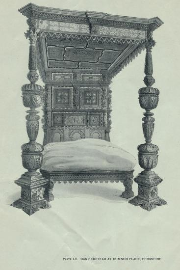 Oak bedstead at Cumnor Place, Berkshire, 1915-Unknown-Giclee Print