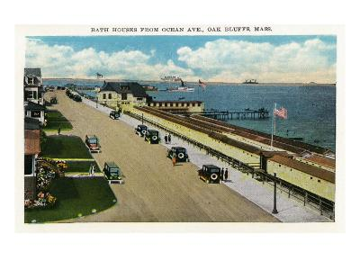 Oak Bluffs, Massachusetts, Ocean Avenue View of the Bath Houses-Lantern Press-Art Print