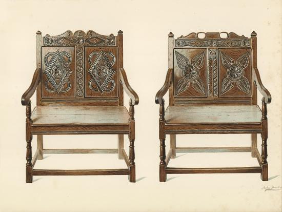 Oak Double Chairs-Shirley Charles Llewellyn Slocombe-Giclee Print
