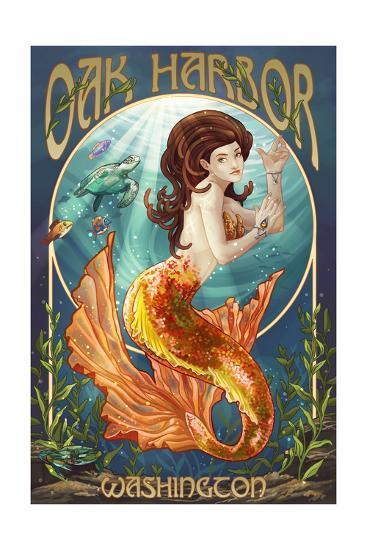 Oak Harbor, Washington - Mermaid (Orange)-Lantern Press-Art Print