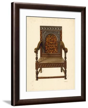 Oak Inlaid Chair, Property of Miss Dorothy Chune Fletcher-Shirley Charles Llewellyn Slocombe-Framed Giclee Print