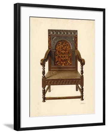 Oak Inlaid Chair, Property of Miss Dorothy Chune Fletcher-Shirley Charles Llewellyn Slocombe-Framed Giclee Print