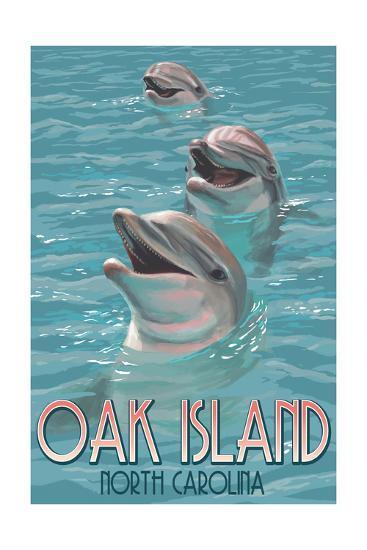Oak Island, North Carolina - Dolphins Swimming-Lantern Press-Art Print