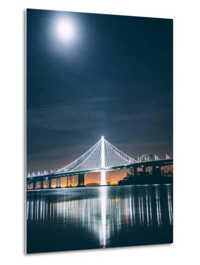 Oakland Bay Bridge and Moonlight Portrait-Vincent James-Metal Print