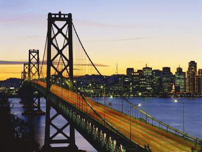 Oakland Bay Bridge at Dusk, San Francisco, California, USA-David Barnes-Photographic Print