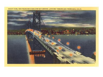 Oakland Bay Bridge at Night, San Francisco, California--Art Print