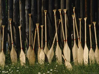 Oars Are Propped Against a Fence, Old Fort William, Thunder Bay, Ontario, Canada-James P^ Blair-Photographic Print