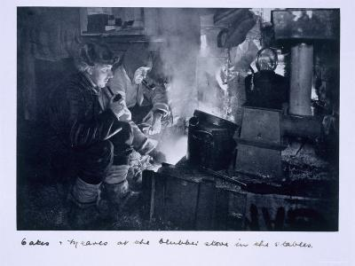 Oates and Meares at the Blubber Stove in the Stables, from Scott's Last Expedition-Herbert Ponting-Photographic Print