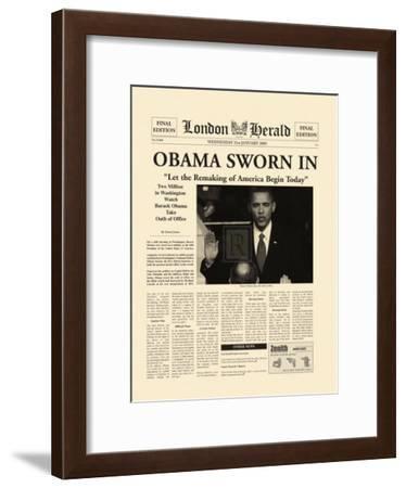 Obama Sworn In-The Vintage Collection-Framed Art Print