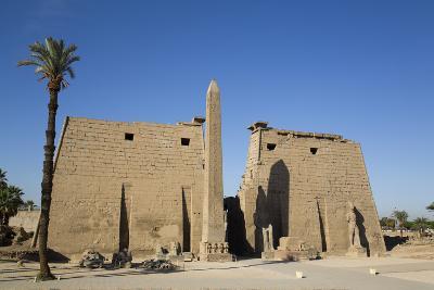 Obelisk, 25 Meters High in Front of Plyon 65 Meters Wide, Luxor Temple-Richard Maschmeyer-Photographic Print