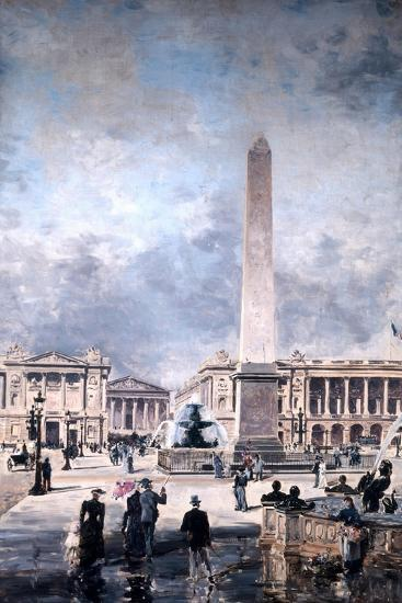 Obelisk of Luxor and the Place De La Concorde, 1891-Emmanuel Lansyer-Giclee Print