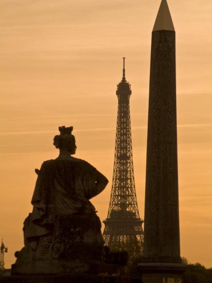Obelisk of Luxor, Eiffel Tower and Statue De Strasbourg at Dusk-Richard Nowitz-Photographic Print