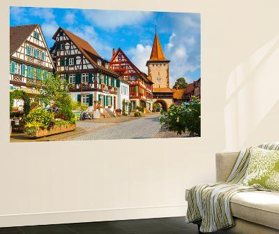 Oberturm Tower in Gengenbach's Picturesque Altstad Illuminated at Dusk, Black Forest, Germany-Doug Pearson-Wall Mural