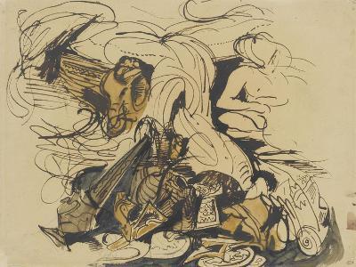 Objets divers, coin de lit à tête d'éléphant et femme nue-Eugene Delacroix-Giclee Print