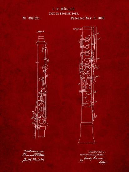 Oboe Patent-Cole Borders-Art Print