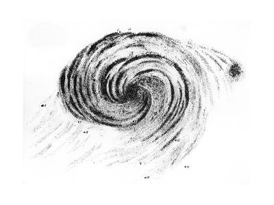 Observation of a Spiral Galaxy in Canes Venatici Drawn by Lord Rosse, 1850--Giclee Print