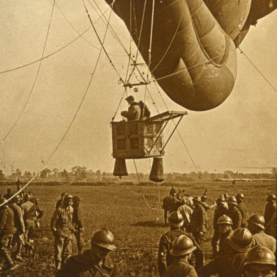 Observation of enemy positions from a barrage balloon, c1914-c1918-Unknown-Photographic Print