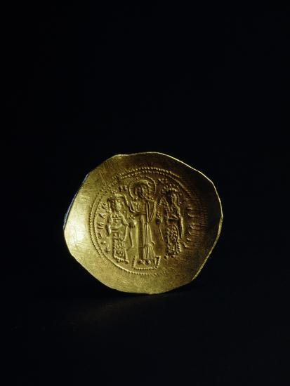 Obverse of a gold scyphate (coin) of Romanos IV, Byzantine, 11th century-Werner Forman-Photographic Print
