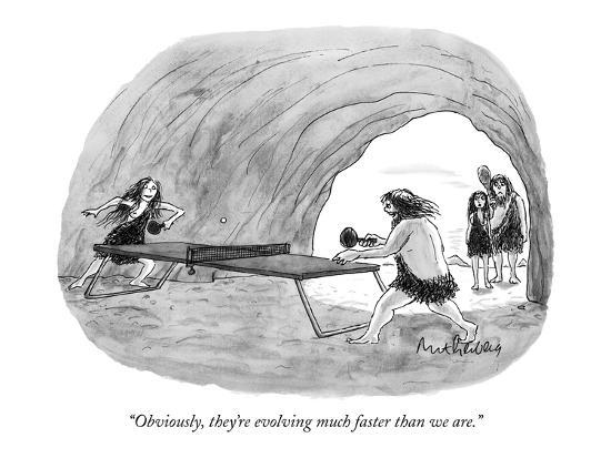 """Obviously, they're evolving much faster than we are."" - New Yorker Cartoon-Mort Gerberg-Premium Giclee Print"