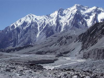 The Karakorum (Karakoram) Highway on the Chinese Side, with River Giz, Xinjiang, China, Asia