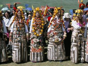Women in Traditional Tibetan Dress, Yushu, Qinghai Province, China by Occidor Ltd