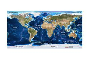 Tectonic Plates Map by Ocean and Design