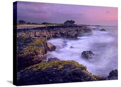Ocean and lava rocks at sunset, Pu'uhonua, Hawaii-Tim Fitzharris-Stretched Canvas Print