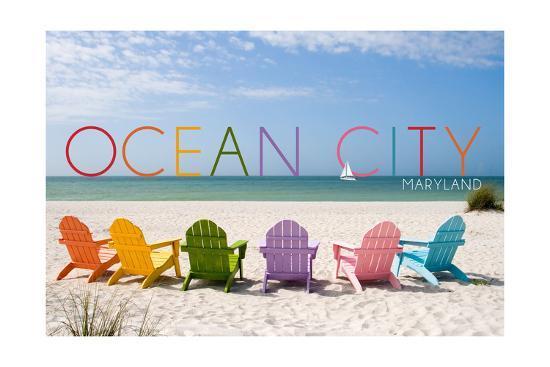 Ocean City, Maryland - Colorful Beach Chairs-Lantern Press-Art Print