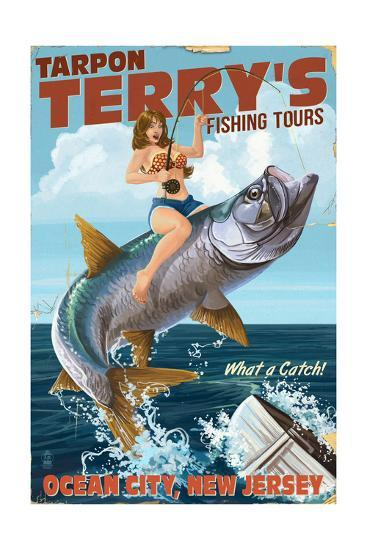Ocean City, New Jersey - Deep Sea Fishing Pinup Girl Art Print by Lantern  Press   Art com