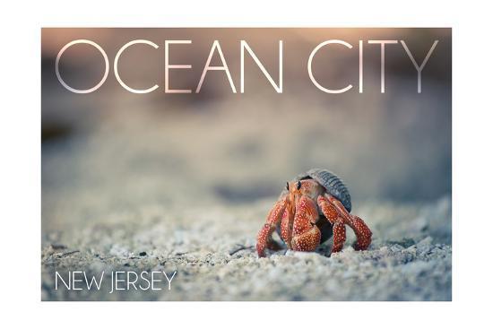 Ocean City, New Jersey - Hermit Crab on Beach-Lantern Press-Art Print