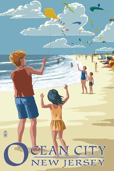 Ocean City, New Jersey - Kite Flyers-Lantern Press-Wall Mural