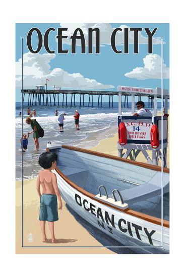 Ocean City, New Jersey - Lifeguard Stand-Lantern Press-Art Print