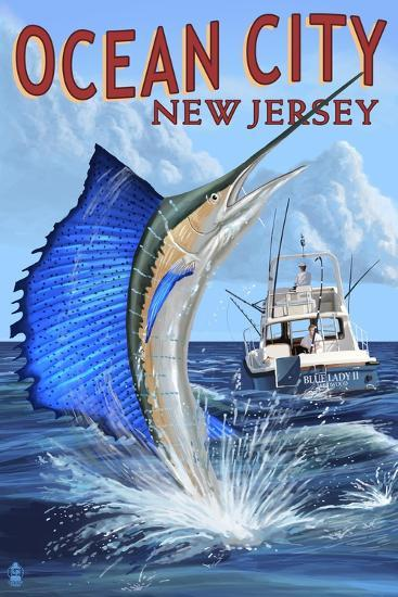 Ocean City, New Jersey - Sailfish Deep Sea Fishing-Lantern Press-Art Print
