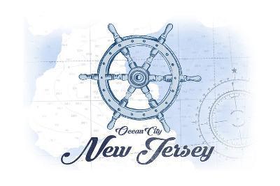 Ocean City, New Jersey - Ship Wheel - Blue - Coastal Icon-Lantern Press-Art Print