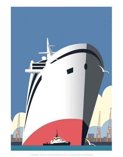 Ocean Cruises Blank - Dave Thompson Contemporary Travel Print-Dave Thompson-Art Print