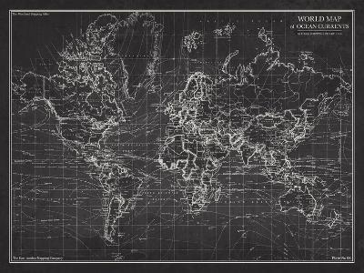 Ocean Current Map - Global Shipping Chart-The Vintage Collection-Art Print