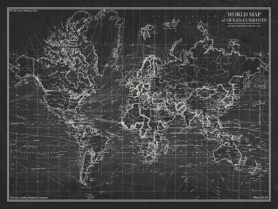 Ocean current map global shipping chart art print by the vintage ocean current map global shipping chartby the vintage collection gumiabroncs Images
