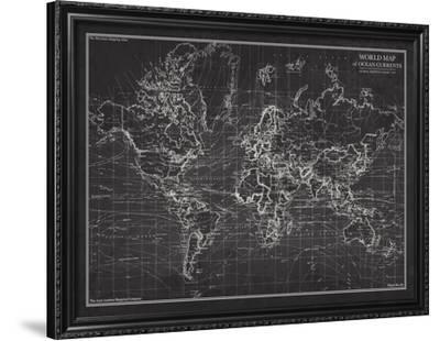 Ocean Current Map - Global Shipping Chart-The Vintage Collection-Framed Art Print