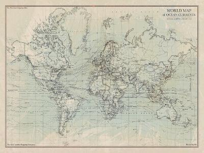Ocean Current Map I-The Vintage Collection-Giclee Print