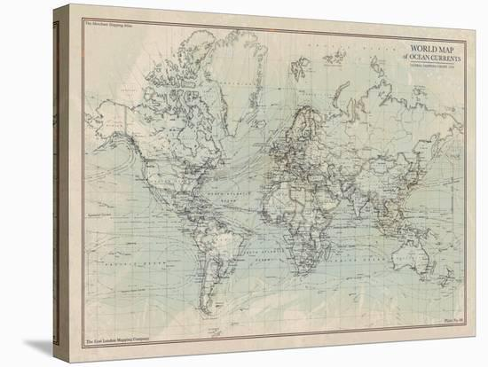 World Map With Currents.Ocean Current Map I Stretched Canvas Print By The Vintage Collection