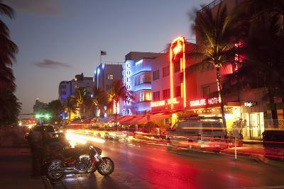 Ocean Drive, South Beach, Art Deco District-Angelo Cavalli-Photographic Print