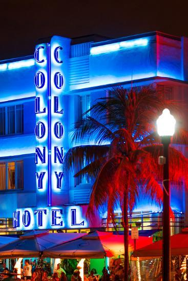 Ocean Drive with the Colony Hotel by Night - Miami Beach - Florida - USA-Philippe Hugonnard-Photographic Print