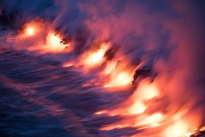 Ocean Fire Lava Shore Hawaii Big Island Volcano National Park-Vincent James-Photographic Print