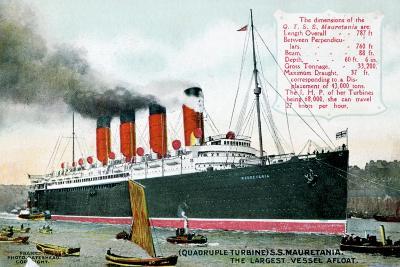 Ocean Liner RMS Mauretania, 20th Century--Giclee Print